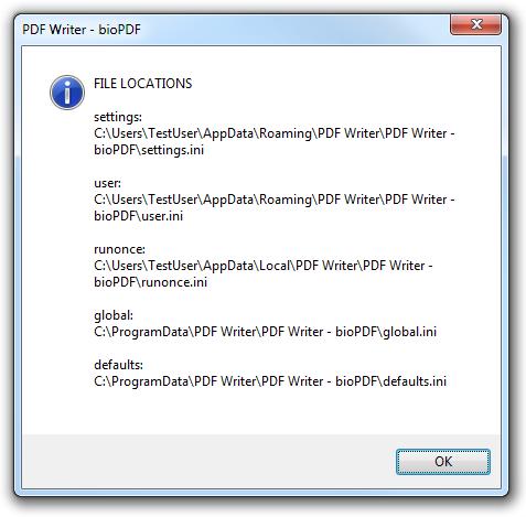 PDF Printer - Configuration Files